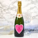 Personalised Champagne With Pink Heart Label