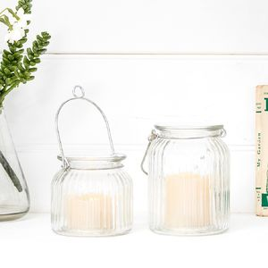 Set Of Two Glass LED Candle Jars