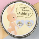 Personalised Easter Bunny Earrings In Gift Tin