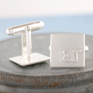 Personalised Silver Small Initial Cufflinks - cufflinks