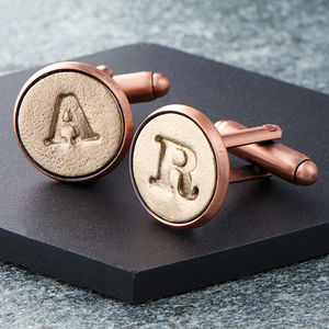 Personalised Bronze And Copper Letter Cufflinks - retirement gifts
