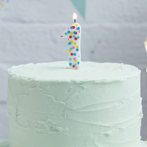 Polka Dot Candle Number One Birthday Cake Candle