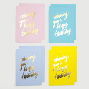 'Wishing You A Happy Birthday' Pack Of Eight Cards