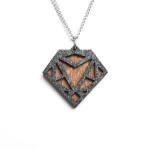 Contemporary Geometric Diamond Pendant Necklace D5