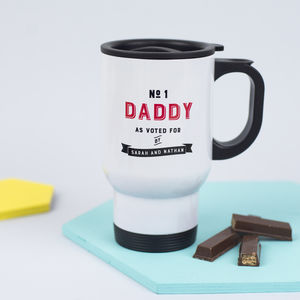 Personalised 'Number One Daddy' Travel Mug - gifts under £25
