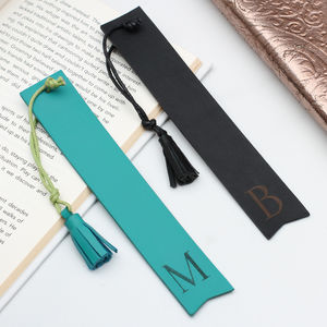 Personalised Initial Italian Leather Bookmark - books