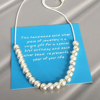 21st Birthday Silver Bead Necklace