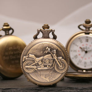 Personalised Bronze Pocket Watch With Motorbike Design