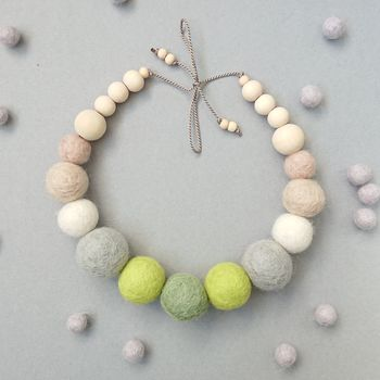 Chunky Felt Ball Statement Necklace