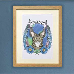 Taurus Cat Star Sign Zodiac Print - posters & prints