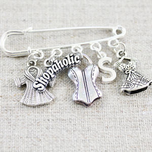 Shopaholic Silver Plated Brooch - pins & brooches