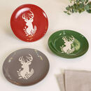 Set Of Four Christmas Reindeer Side Plates