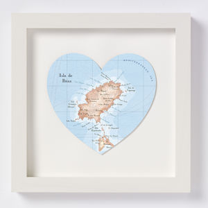 Ibiza Map Heart Wedding Anniversary Print - personalised