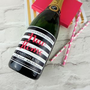 New Home Personalised Champagne/Prosecco Label - ribbon & wrap