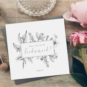 Watercolour Effect Will You Be My Bridesmaid Card