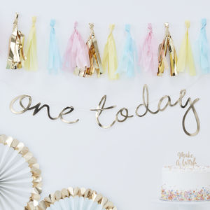 Gold One Today Babys First Birthday Backdrop Bunting
