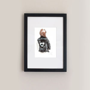 Customised Drawing Of You In A Bespoke Leather Coat