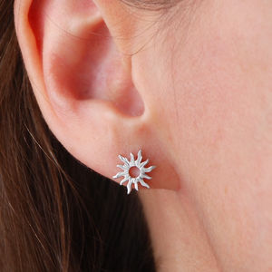 Boho Silver Or Gold Sun Stud Earrings - earrings