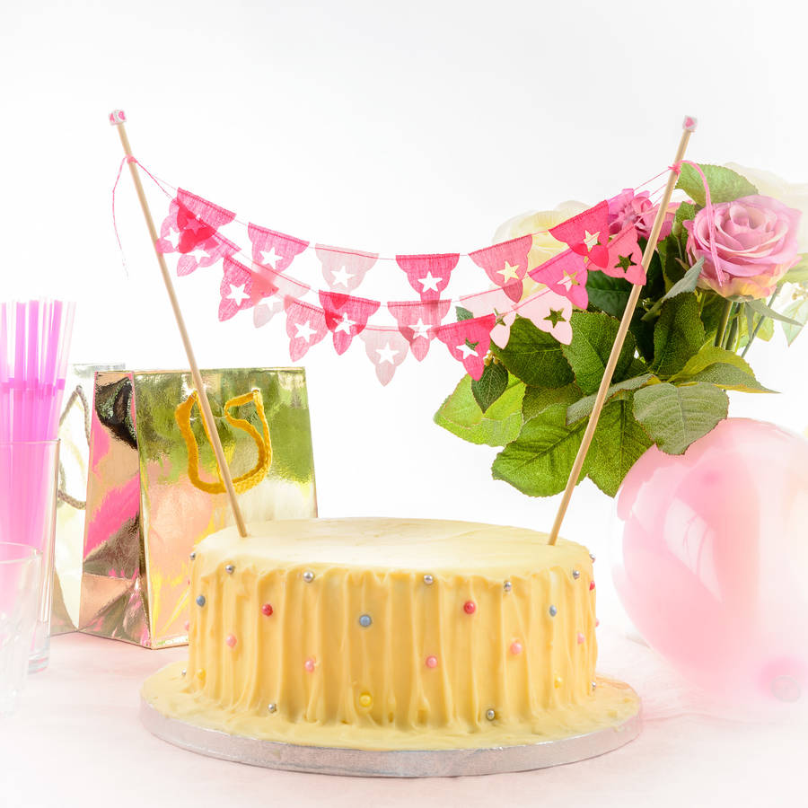Pink All Star Mini Birthday Cake Bunting Three Strands By Baloolah