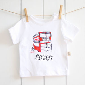 Handpainted And Personalised Double Decker Bus T Shirt