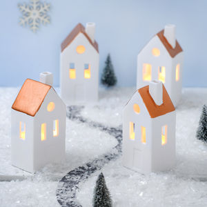 Ceramic Houses With Metalic Roofs - christmas lighting