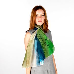 Icelandic Green Blue Silk Scarf Wrap Women Personalised