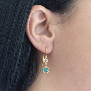 Mother And Child Birthstone Earrings