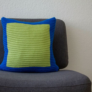 Hand Knit Colourblock Cushion In Blue And Green