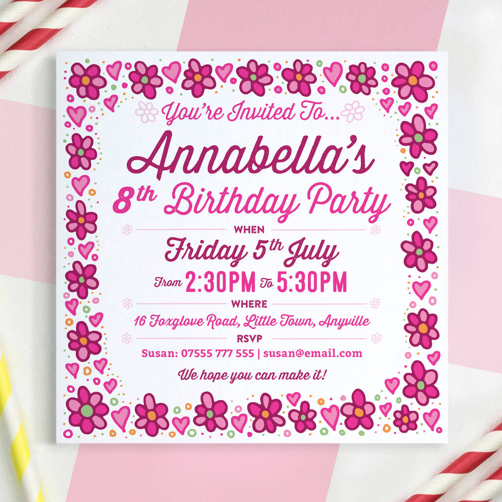 girls personalised birthday invitations by a is for alphabet