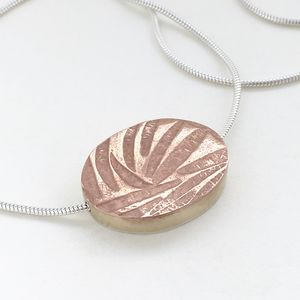 Large Embossed Oval Silver Copper Brass Necklace - necklaces & pendants