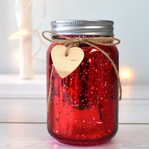 Red Sparkle Firefly Jar Light - valentine's day decorations