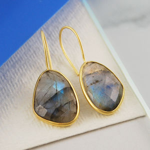 Faceted Labradorite Gemstone Gold Drop Earrings - earrings