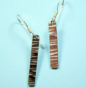 Single Drop Hammered Earrings - earrings