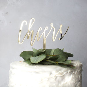 'Cheers' Cake Topper