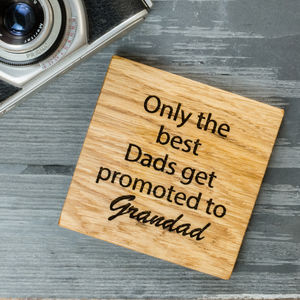 Personalised Oak Grandad And Grandparent Coaster - gifts for the home