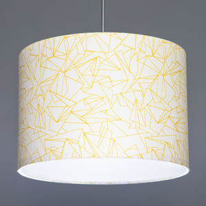 Flock Cracked Ice Mustard Fabric Lampshade - new in home
