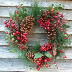 Red Berry And Pine Cone Wreath - wreaths