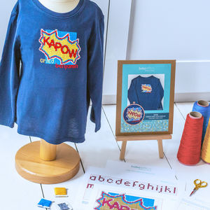 Personalised 'Kapow!' Cross Stitch Kit For Clothing - what's new