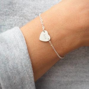 Personalised Silver Initial Heart Bracelet - gifts for her sale