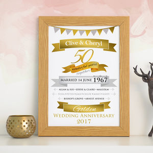 Personalised Golden Anniversary Typographic Art - dates & special occasions