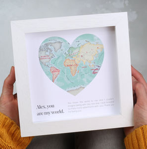 Framed world maps for sale you are my world map heart valentines framed print gumiabroncs Image collections