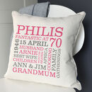 cream cushion - pink & grey text