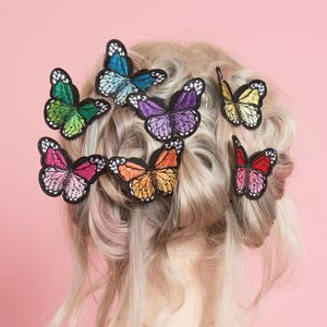 Embroidered Butterfly Hair Clips