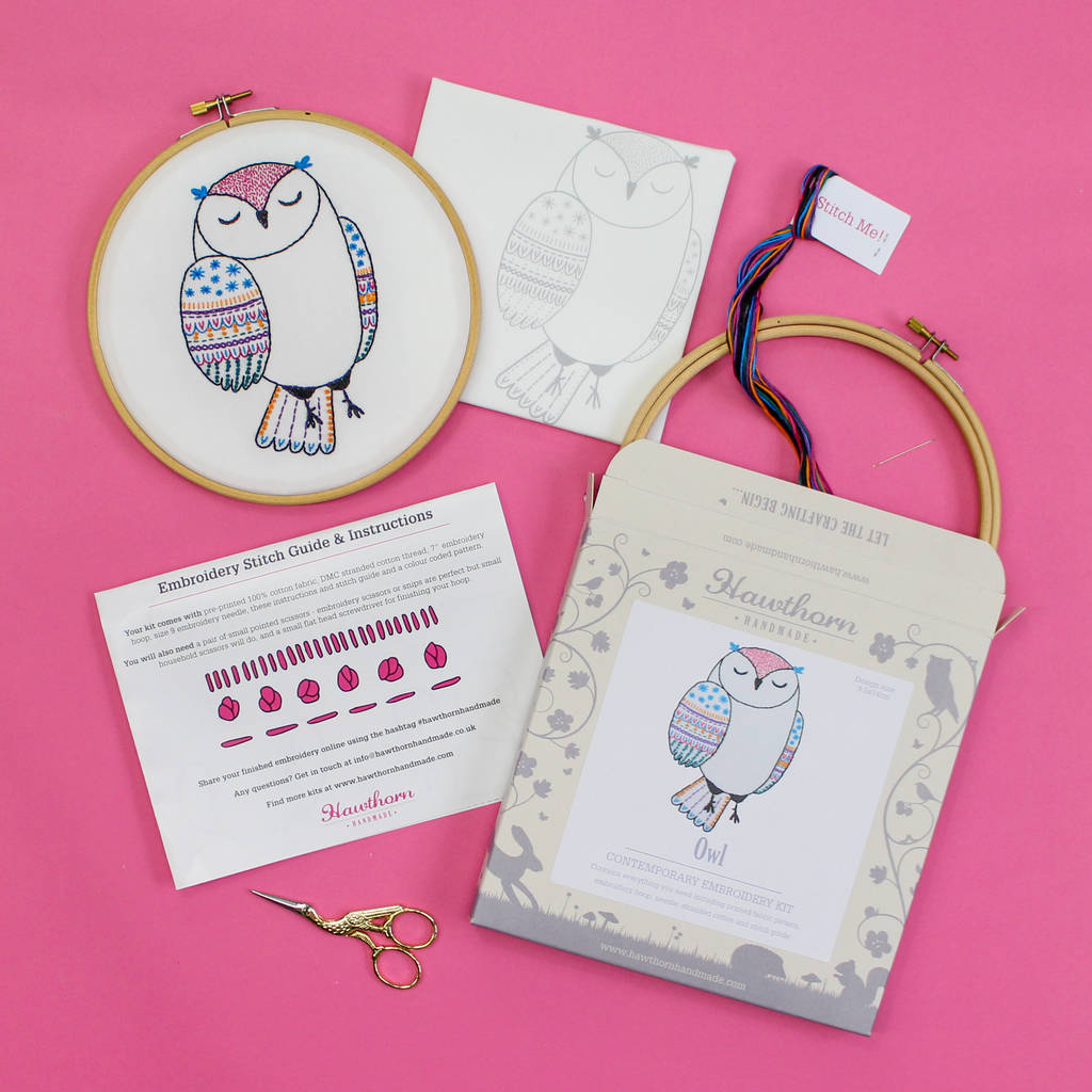 Owl contemporary embroidery craft kit by hawthorn handmade