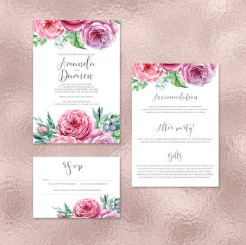 Cottage Garden Floral Wedding Invitations