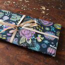 midnight floral wrapping paper with rose tag