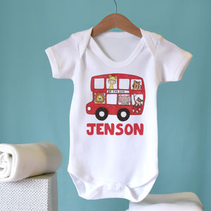 Personalised Zoo Bus Baby Vest - babygrows