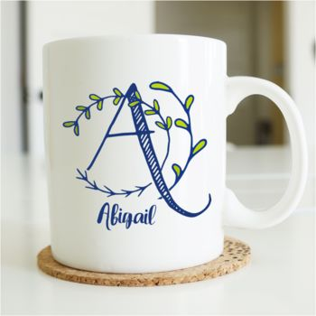 Personalised Botanical Initial Mug