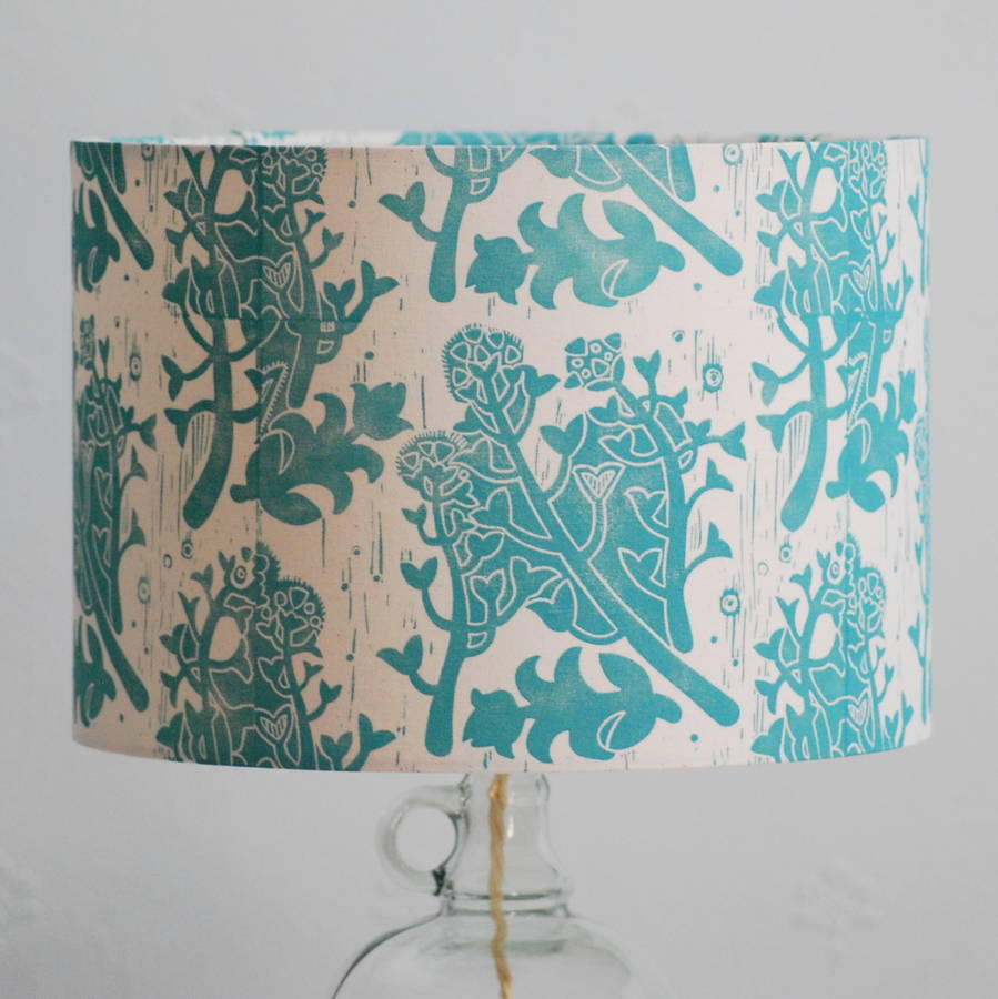 shepherd\'s purse lampshade block printed by hand by hannah madden ...