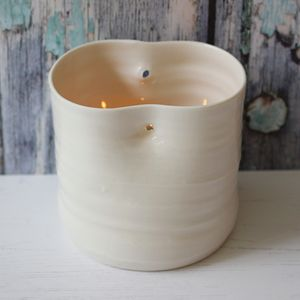 Hand Thrown Porcelain Dimple Tea Light Holder